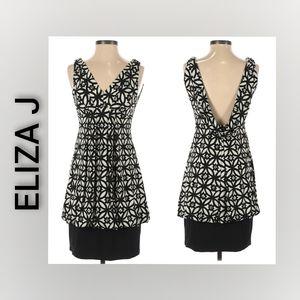 Eliza J Dress Size 4 Black and White Midi